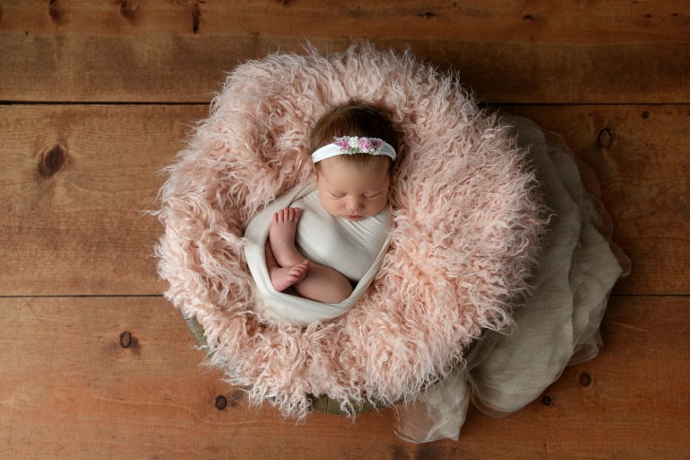 posed newborn girl in pink and brown
