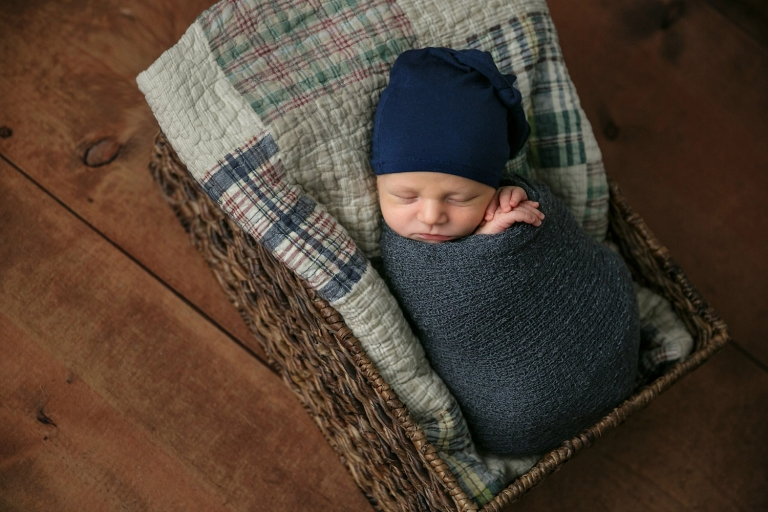 newborn boy blue plaid minneapolis mn studio